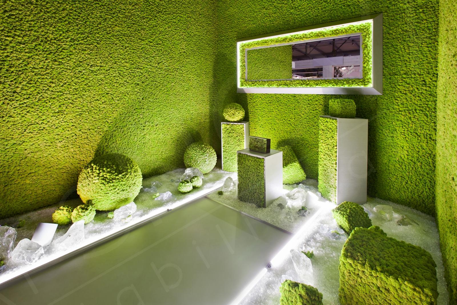 Pareti vegetali modulari, rivestimenti decorativi con piante, muschi, e licheni stabilizzati